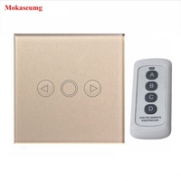 Wall Light Switch Dimmer Touch Switch 1 Gang EU Standard Crystal Glass Panel Remote Control Light