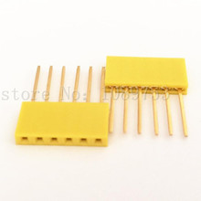 100pcs Yellow 2.54mm 6P Stackable Long Legs Female Header For Arduino Shield