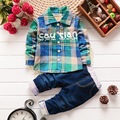 2016 New Boy gentleman suit shirt + jeans Full pocket Plaid long-sleeve Cowboy Denim pants plaid suit Kids clothing set present