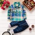 2016 New Boy gentleman suit shirt + jeans Full pocket Plaid long-sleeve Cowboy Denim pants plaid suit Kids clothing set present