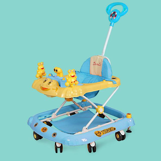 Venta caliente Niños Caminantes Prevención Rollover Bebé Andador Paso Placa Juguetes Andador Música Multifuncional Coche Plegable Portable Del Coche