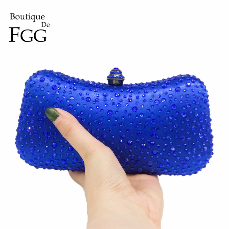 Royal Blue Crystal Women Evening Bags Bridal Wedding Satin Box Clutch Rhinestones Purses and Handbags Metal Chains Clutches Bag golden crystal diamond rabbit women evening clutch bags bridal wedding dress handbags shoulder purses hard case metal clutches