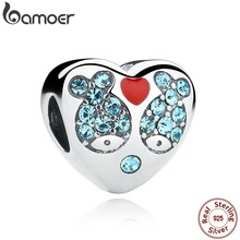 BAMOER 925 Sterling Silver Red Heart Blue Crystal Fish Heart Charms Fit Bracelet Jewelry Making Mother Gift SCC020(China)