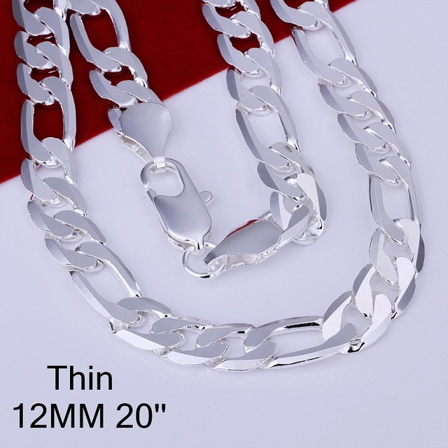 SMTCAT Hot Sale Fashion 12mm Silver Plated Curb Chain Necklace,Fashion Silver 925 Jewelry Necklace For Men 20 inches