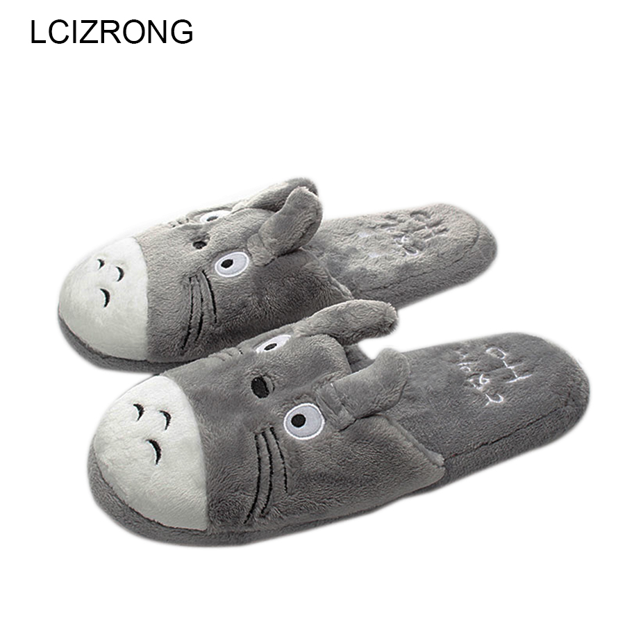 LCIZRONG Totoro Cute Cat Cartoon Women Non-slip Animal Female Couple Home Slippers Indoor House Bedroom Male Shoes 2018 New