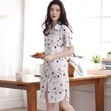 Summer Short-sleeve Sleepwear Female 100% Cotton Shirt-style Nightgown Brief Sexy Loose Thin Lounge Pijamas