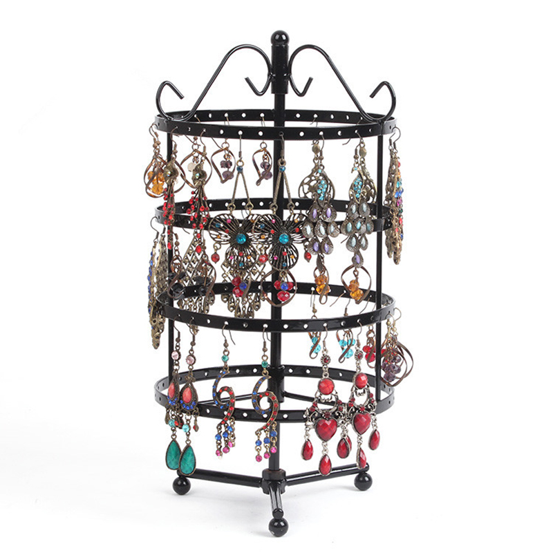 Image 2 - 144 Holes Round Rotating Jewellery Display Stand Black Metal Earrings Holder Organizer Stand Rack #46674display carddisplaydisplay stand china -