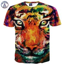 2017 Mr.1991INC Hot promoting New type Animals print T-shirt males/boy 3d tshirt humorous print watercolor galaxy Tiger T shirt summer season