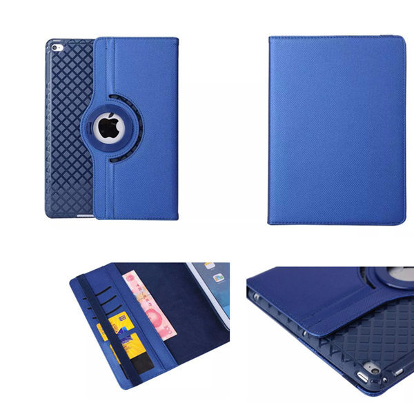Grid Pattern Soft TPU Back Cover Case Luxury Rotation Filp PU Leather Case For Apple IPad