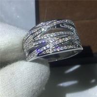 Luxe Vrouwen mode-sieraden Diamonique Cz Wit Goud Gevuld Cross Engagement wedding band ring voor vrouwen mannen Gift