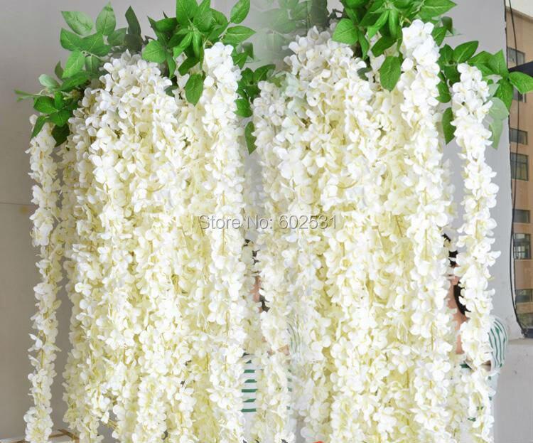Ratán Flor Artificial Wisteria Guirnaldas Vides Flor de Seda Para La Fiesta de B