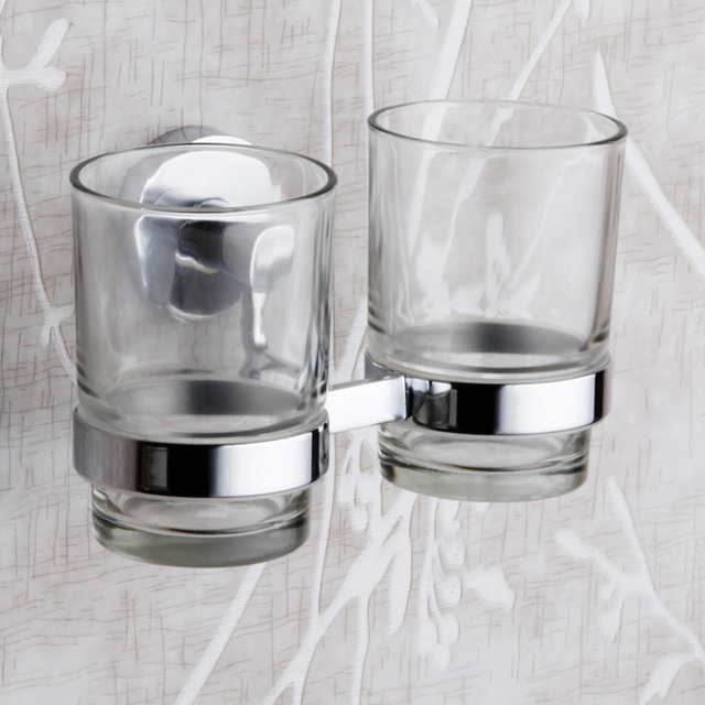 HUICI Embedded Chrome Double Cup Holder Pastoral Glass Cups Bathroom  Accessories Tooth Brush Tooth Hup Holder