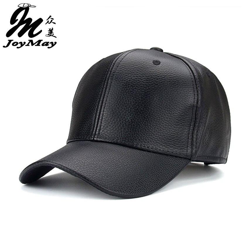 Joymay 2016 NEW PU Leather Baseball Cap Hip Hop caps gorras Snapback Hat Biker Trucker For