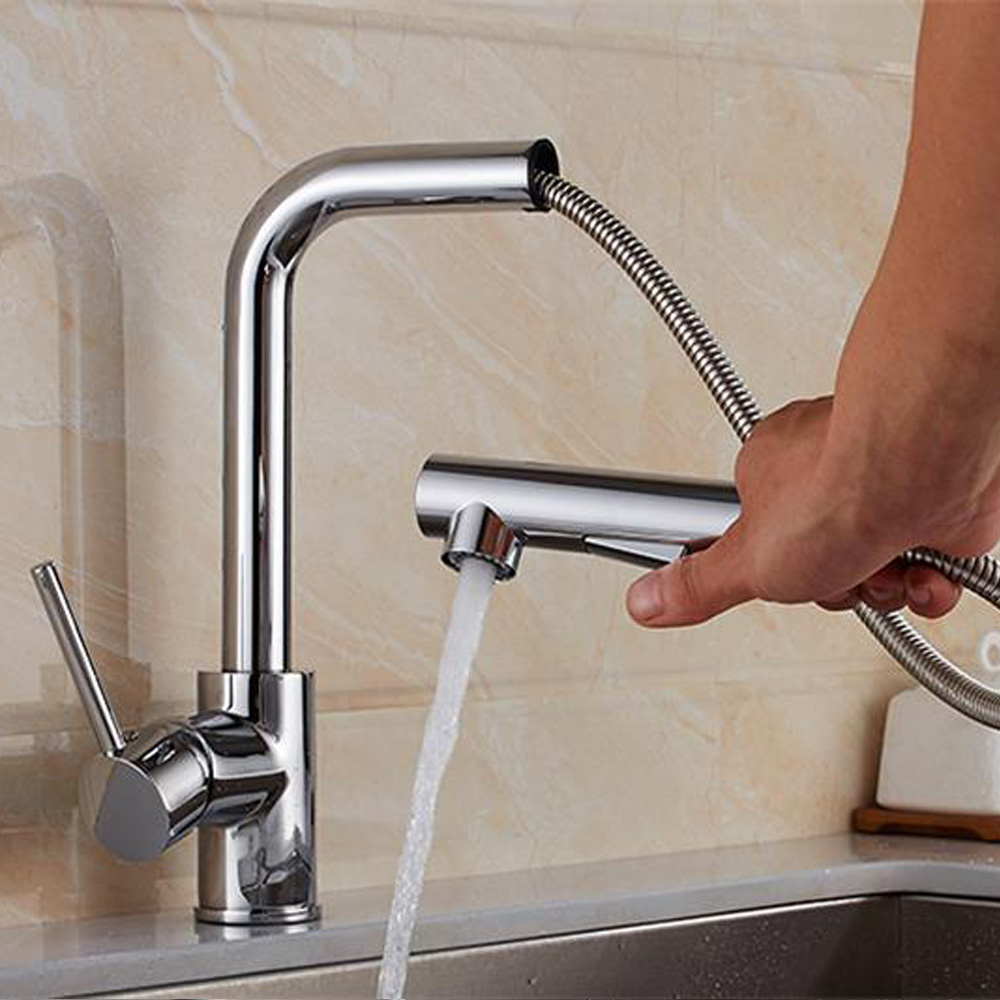 Black Pull Out Kitchen Faucet Bathroom Mixer Tap Deck Mounted Swivel Spout Stream Sprayer Lead free Shower Mixer Tap TL069