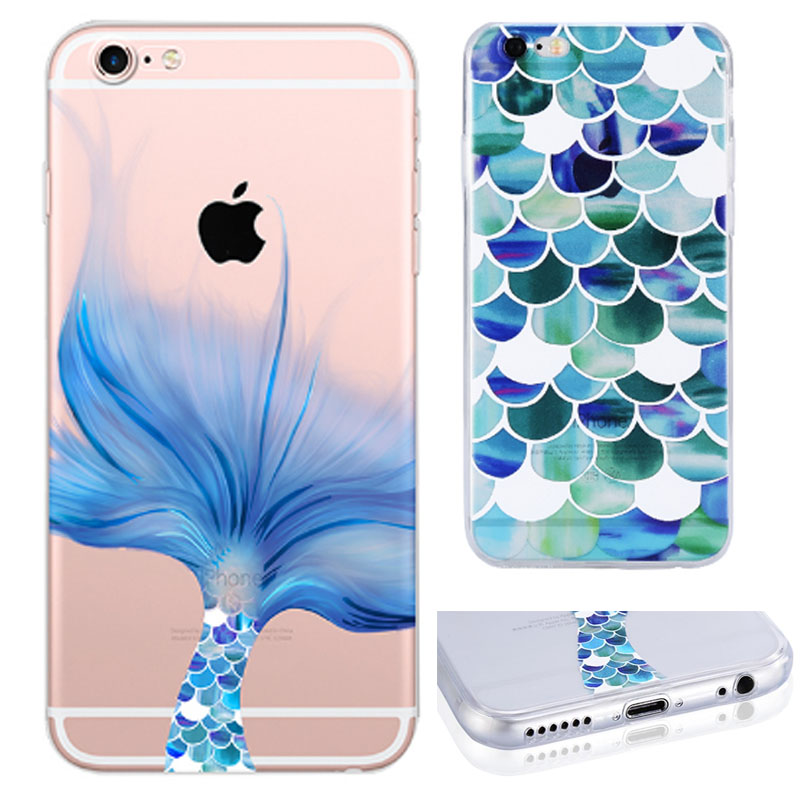 Galleria fotografica Phone Case Coque For Apple Iphone 6 6s 7 / Plus 5 5s SE Beautiful Mermaid Scales Ocean TPU Rubber Funda Cover Mobile Phone Bag