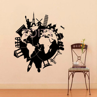 Wall Vinyl Decals World Travel Map Decal Sticker Home Decor Art Mural H70cm X W57cm