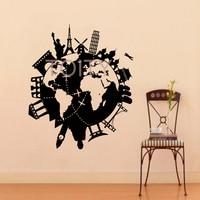 Wall Vinyl Decals World Travel Map Decal Sticker Home Decor Art Mural H70cm X W57cm