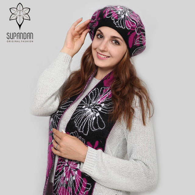 SUPANDAN Princess Flowers Hat Scarf Set Novelty Berets Hat For Women Winter Warm Hats Girls Christmas Gift New Arrivals 8466B