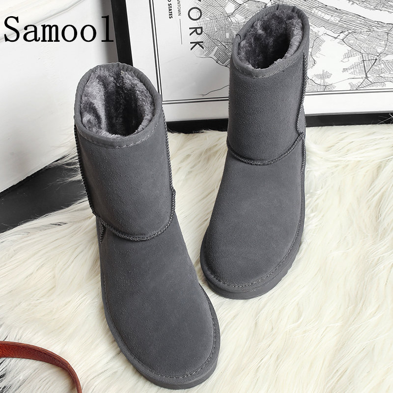2017 Classic Women Winter Boots Suede Ankle Snow Boots Female Warm Fur Plush Insole High Quality Botas Mujer Big Size 36-41 WX5 designer women winter ankle boots female fur lace up snow boots suede plush sewing botas