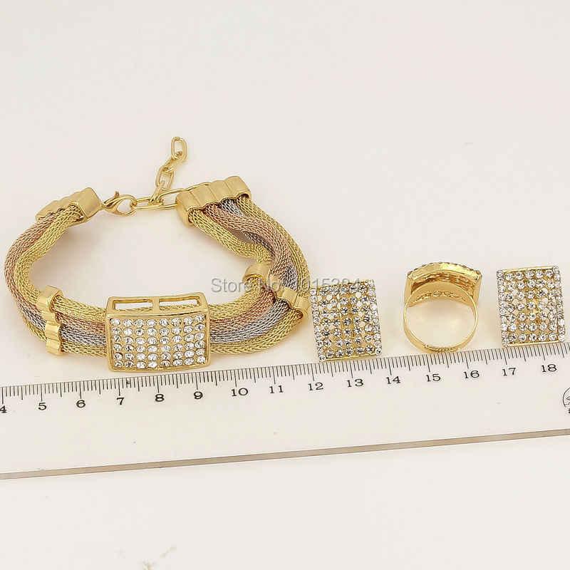 Năm mới Bán Hàng ~ Ba Tone Charms Choker Dubai Thanh Lịch Phụ Nữ Quà Tặng Necklace Bracelet Earring Nhẫn Lê Trang Sức Thiết Sets