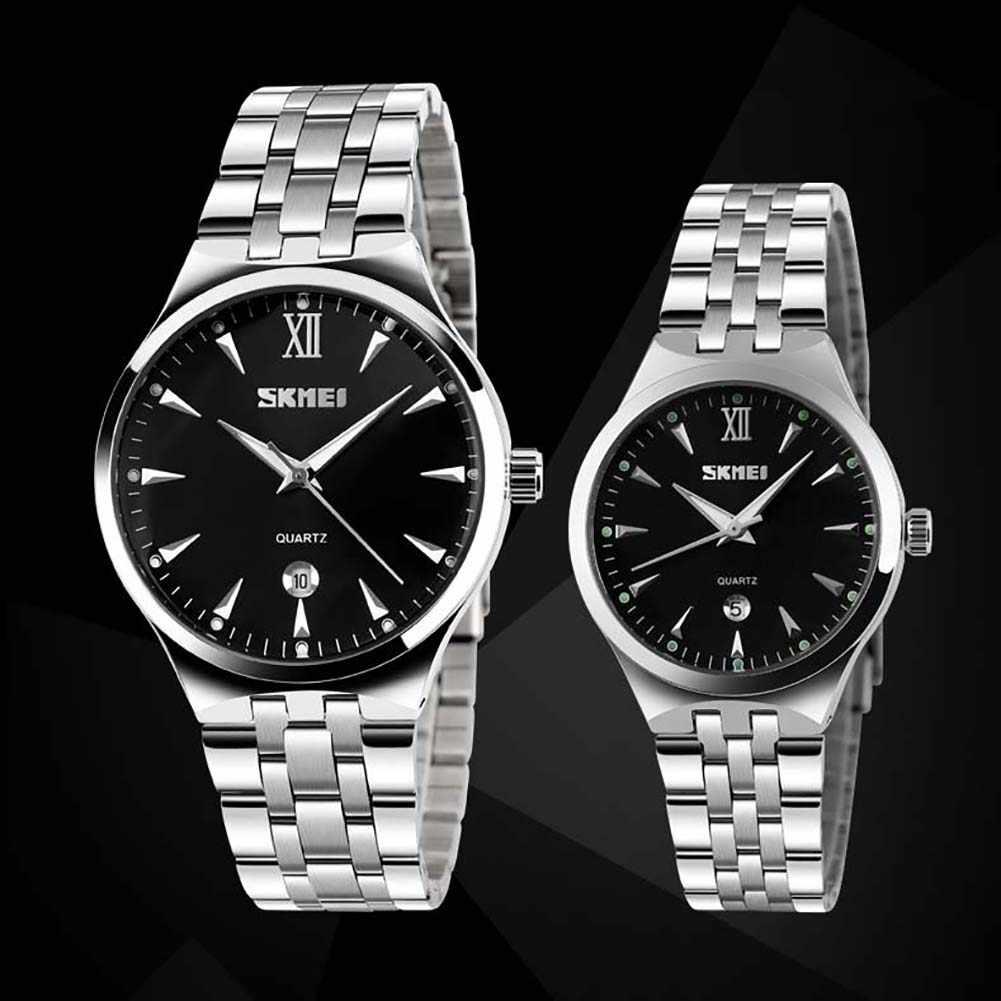 SKMEI 9071 мужские и Женские часы модные парные часы светящиеся Дата Календарь нержавеющая сталь кварцевые наручные часы для влюбленных часы