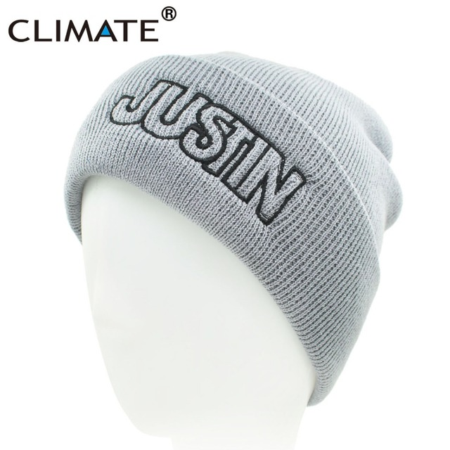 1d8680d69 US $3.72 38% OFF|CLIMATE Men Women Winter Hats Warm Beanie Women Justin  Name Hat Purpose Warm Soft Knitted Beanies Hat Cap For Men Youth Women-in  ...