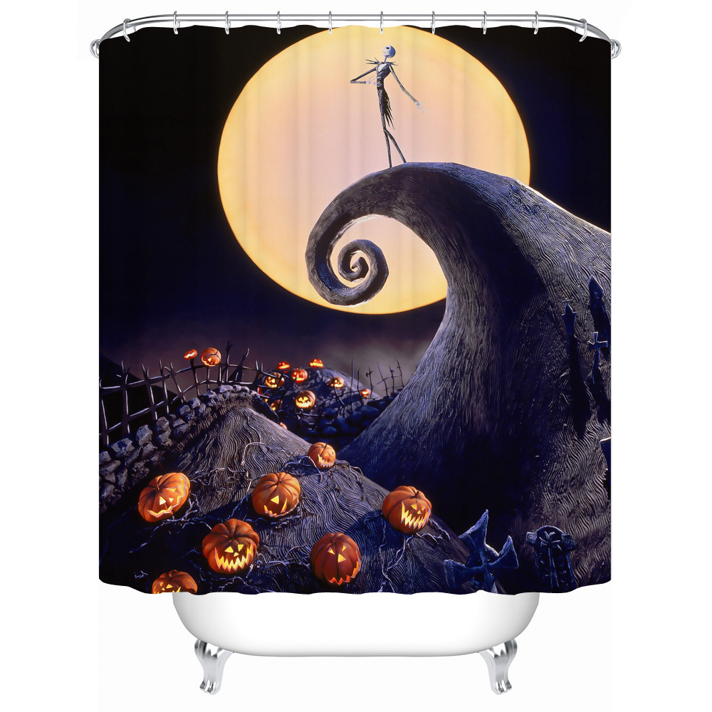 Waterproof Fabric Shower Curtain Halloween Acceptable Personalized Custom Shower Curtains Bathroom Curtain Y-066