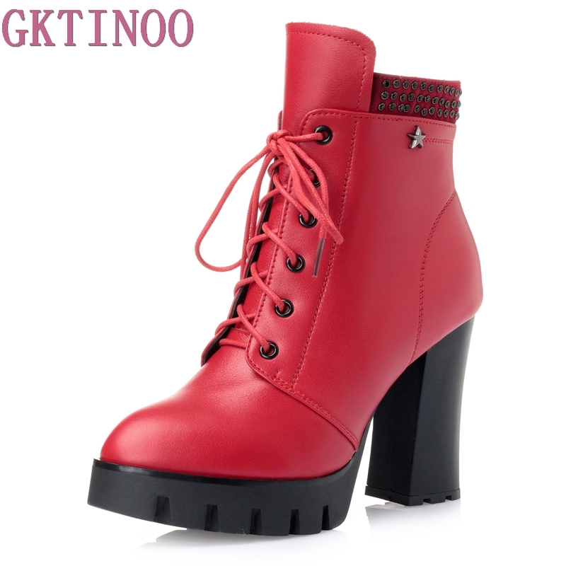 Fashion sexy women's ankle boots lace up high heels genuine leather+pu platform Women autumn winter snow boots ladies shoes high quality genuine leather women shoes spring and autumn high heels women boots hollow out lace ladies fashion boots