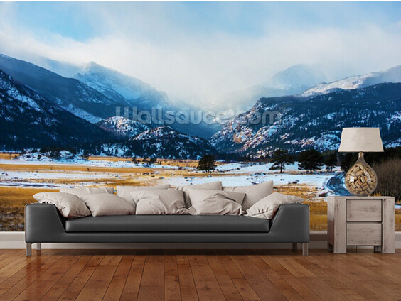 Custom landscape wallpaper,Mountains Winter Scenery,3D photo murals for living room kitchen bedroom wall waterproof wallpaper custom landscape wallpaper dandelion clock 3d natural photo murals for living room bedroom kitchen wall vinyl wallpaper
