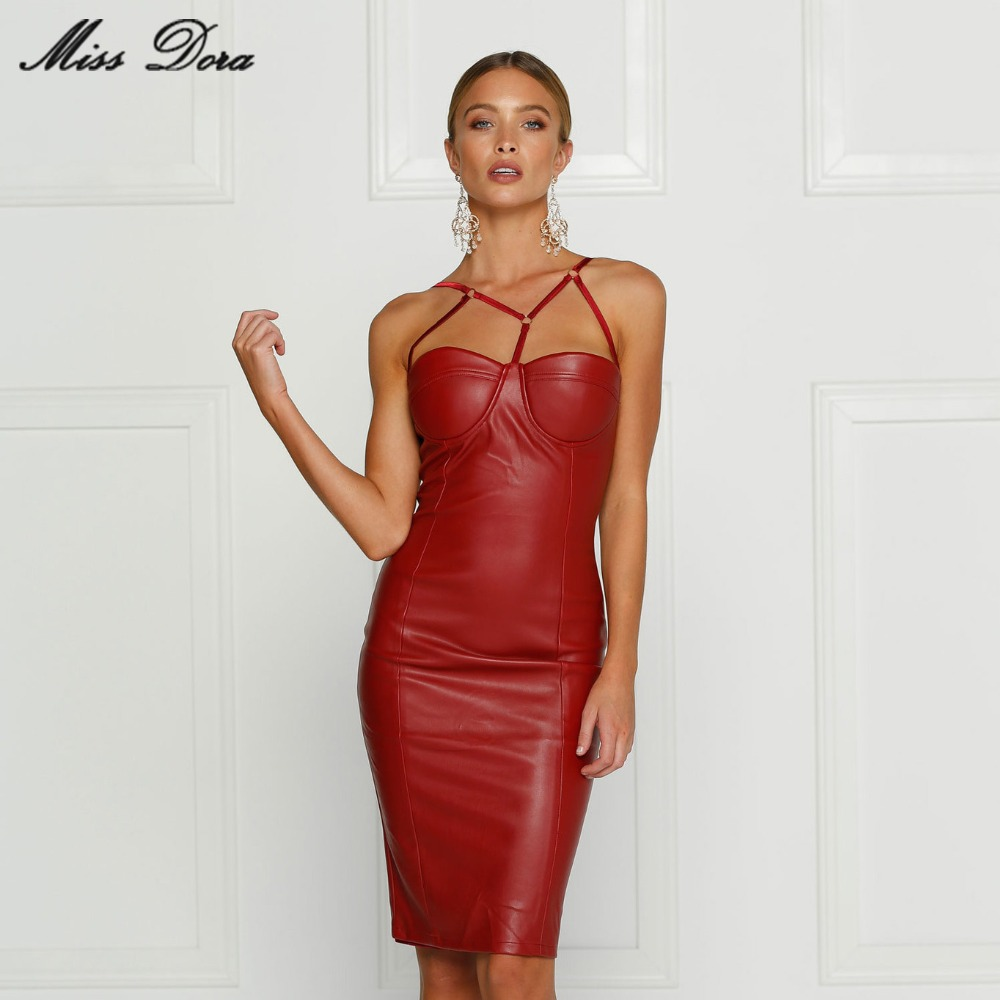Buy 2016 New autumn Black Wine Beige White pu Leather Evening Party Dress busty pencil celebrity sexy bodycon dress ball vestidos