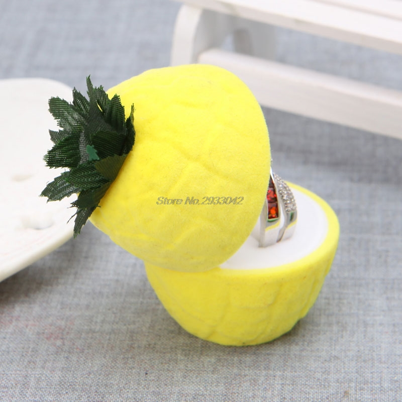 1Pcs yellow Chic Pineapple Ring Earring Ear Stud Storage Jewellery Box Case Holder Container -W128