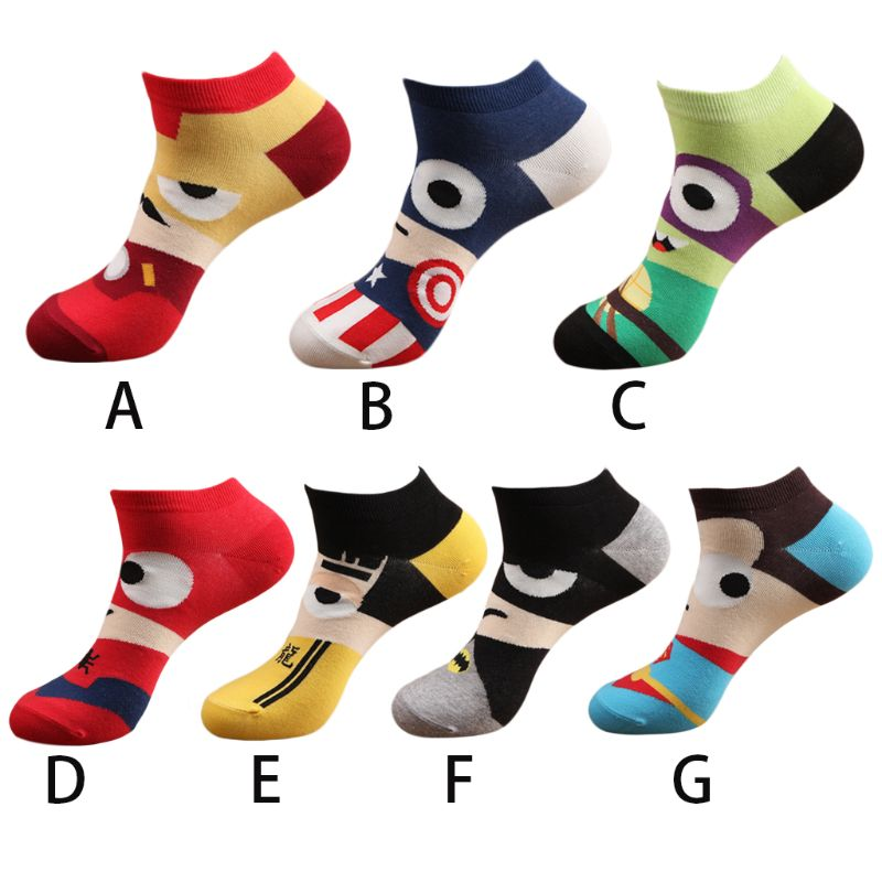 Men Unisex Spring Summer Short Over Ankle Boat Socks Funny Cute Colorful Cartoon Hero Character Alliance Printed Combed Cotton