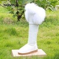 Real Fox Fur Snow Boots Women Waterproof 2016 Flat Winter Shoes Knee High Boots Women Guneine