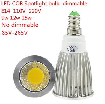 50PCS High Lumen E14 LED COB Spotlight 9W 12W 15W Dimmable AC110V 220V LED Spot Light Bulb Lighting Lamp Warm/Cool white
