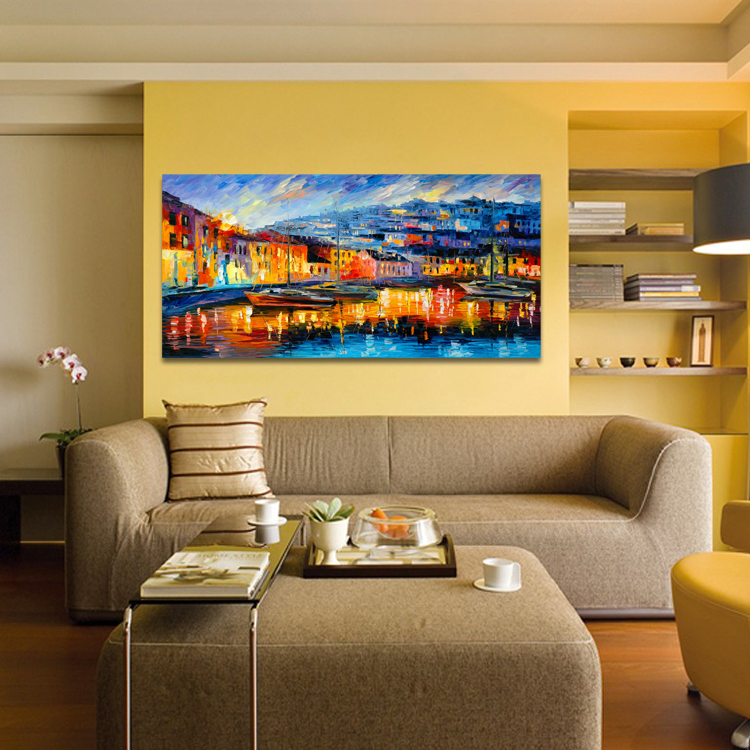 Harbor Boats Abstract Scenery Painting Dining Room Bedroom Wall Hanging  Paintings Canvas Landscape Mural No Frame In Painting U0026 Calligraphy From  Home ...