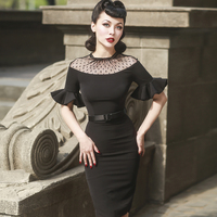Le Palais Vintage 2017 Summer Classic Vintage Lace Dress See Through Dot Polka Lace Stylish Butterfly