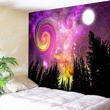 Fuchsia Galaxy Tapestry Psychedelic Moon Forest Wall Elk Decorative Carpet Hippie Blanket Bohemian Fabric New