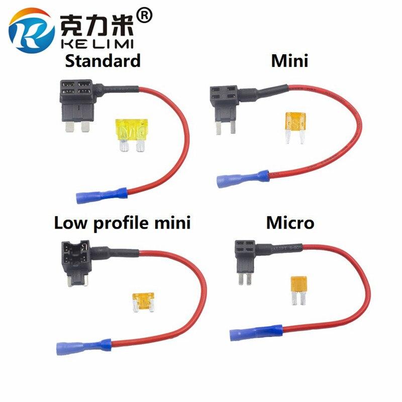Kelimi Add A Circuit Fuse Holder Micro  Mini  Low Profile Mini  Standard Atm Apm Blade Tap Dual