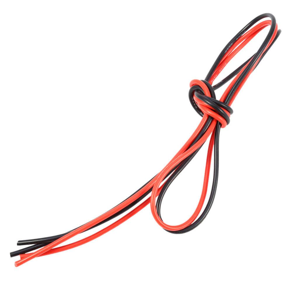 16AWG 2 м силиконовый кабель высокая термостойкость Луженая Медь многожильный провод (1 метр красный + 1 метр Черный) гибкий провод кабель