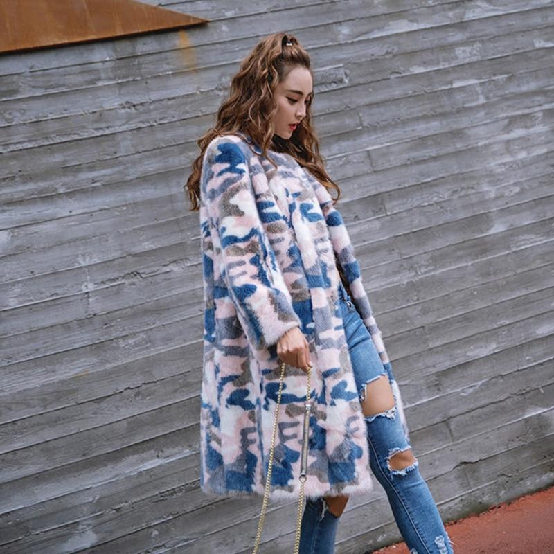 Blue Réel Hiver Nouvelle Série Fourrure Sky Veste Moyen Manteaux Vêtements Femelle Manteau Camouflage De Femmes Lvchi Vison Iaq5I