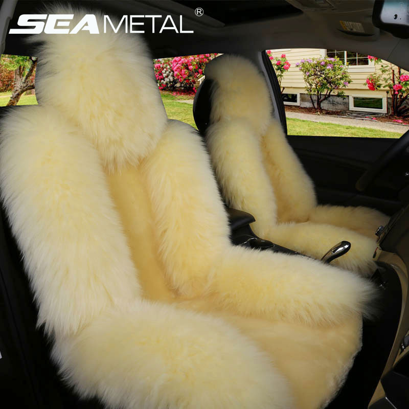 Car Seat Cover Long Wool Winter Universal Sheepskin Fur Front Seat Cushion Natural Covers Car styling