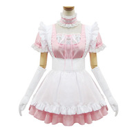 Lolita Japanese Anime Cosplay Costume Super Cute Sweet Pink Maid Theme Dress Outfit Princess Party Sissy Maid Uniform Set