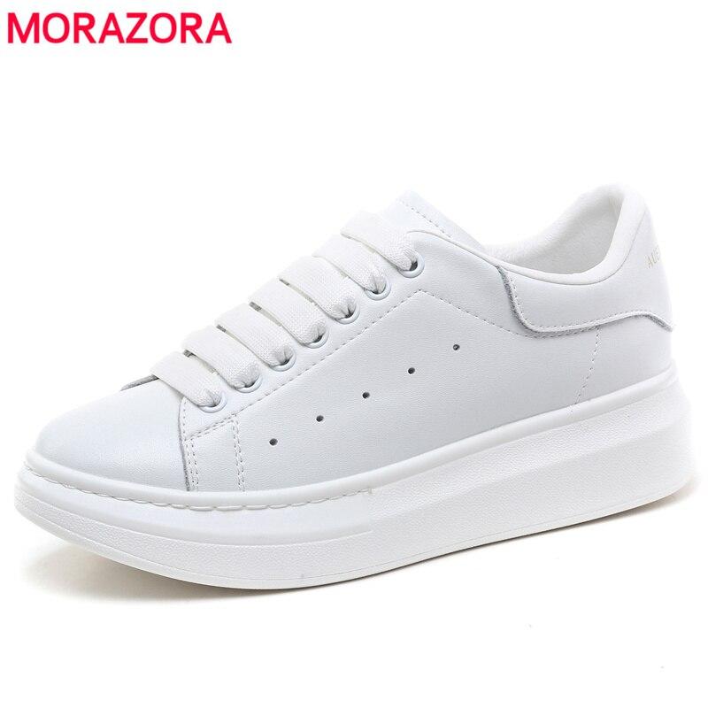 MORAZORA 6 couleurs 2019 nouvelle plate-forme en cuir véritable baskets femmes chaussures décontractées en cuir de vache classique petites chaussures blanches femme
