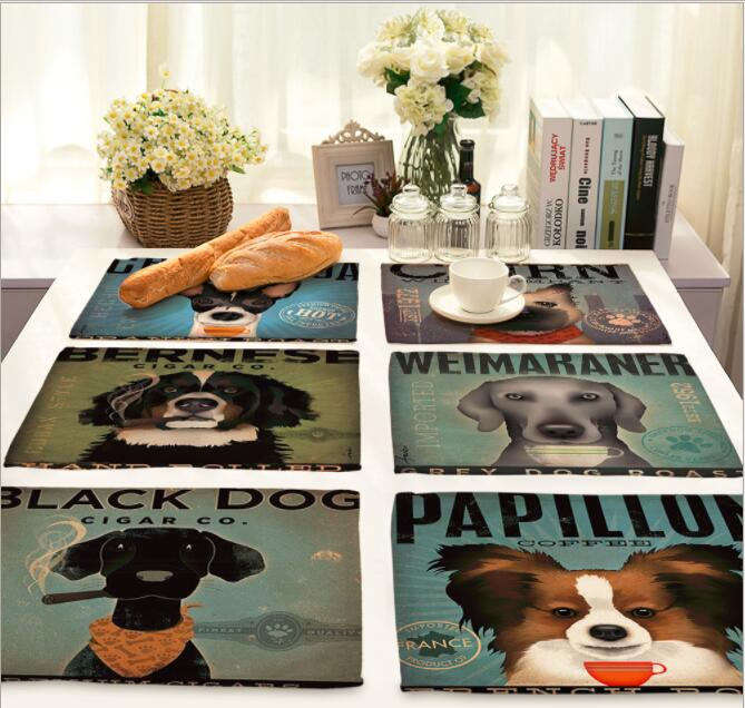 NEW Printed Linen Placemat Place mat Table Mat Cute Dog polyester Dinner table mat Coaster Home textile Dec wholesale FG844