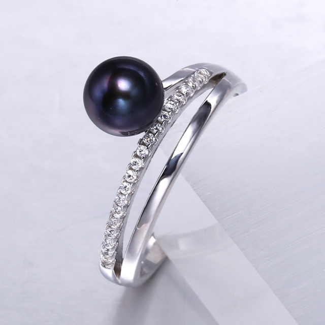 925 Sterling Silver 7-8MM Natural Freshwater Pearl Ring with Zircon Crystals