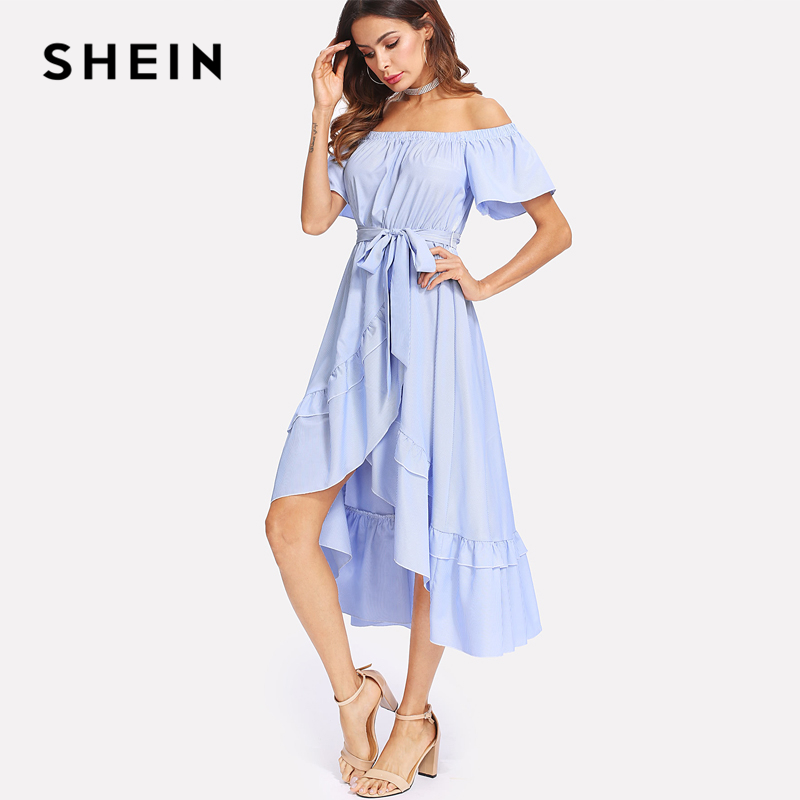 33ae87e1af SHEIN Ruffle Trim Overlap Hem Striped Bardot Dress 2018 Summer Long Dresses  Off The Shoulder Tie Waist A Line Asymmetrical Dress-in Dresses from  Women's ...