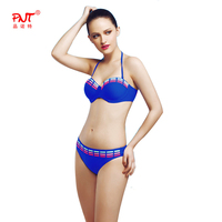 PNT117 Bikini Set Push Up Swimwear Swimsuit Sexy Monokini Red Yellow Blue Rope Cross Twist Braided
