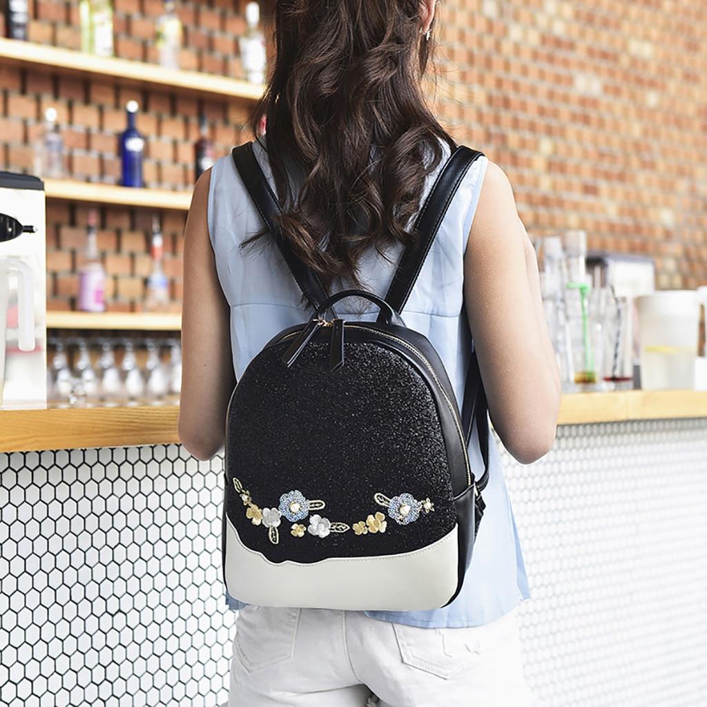 Women Flower Sequin Bag Shoulder Bag Backpack Fashion Wild Student Bag Mochilas Mujer 2019 Mochila Feminina Backpack