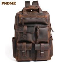 лучшая цена Men's bag retro mad horse leather men's shoulder bag head layer cowhide backpack leather travel backpack