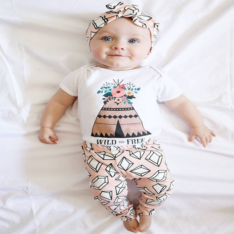 New 2017 autumn newborn baby girl clothes cotton long sleeve Gem Printing t-shirt + pants baby girl clothing set infant 2pc suit